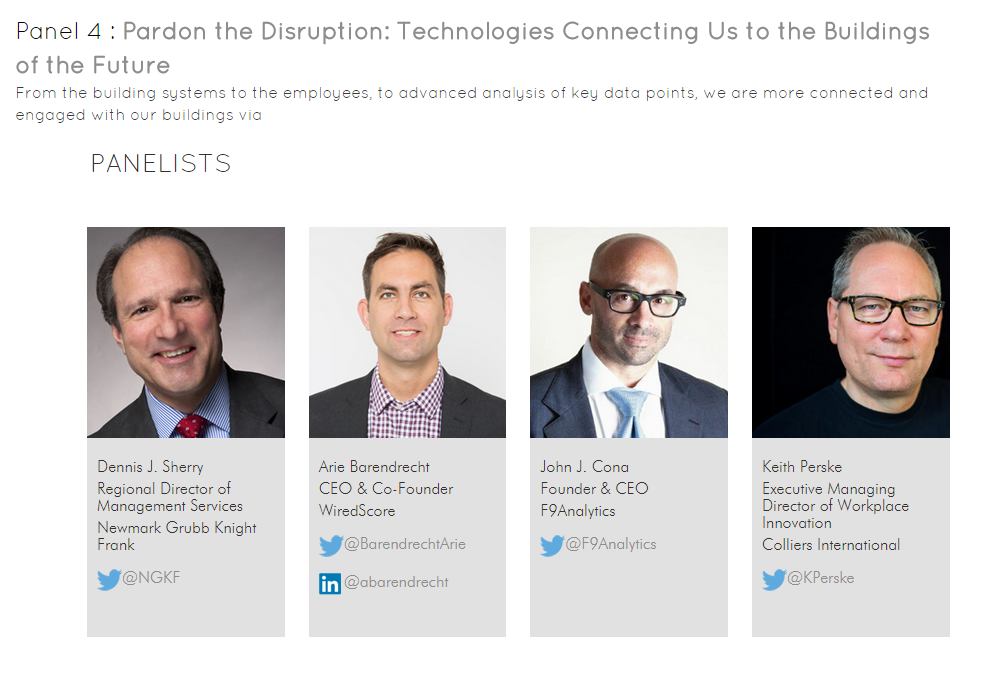 "The ""Pardon the Disruption: technologies Connecting Us to the Buildings of the Future"" panel"